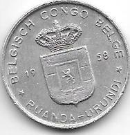 Belgium Congo 1 Franc  1958   Km 4   Vf+ - 1951-1960: Baldovino I