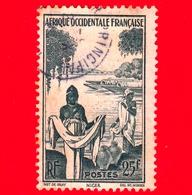 AFRICA Occidentale Francese - AOF - Usato - 1947 - Donne Azwa Al Fiume Niger - 25 - A.O.F. (1934-1959)
