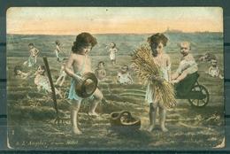 BEBES - BEBES DANS UN CHAMP - L'ANGELUS D'APRES MILLET  (coins Arrondis) - Babies