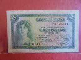 ESPAGNE 5 PESETAS 1935 CIRCULER - 5 Pesetas