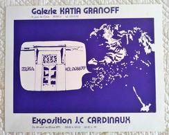 AFFICHE ANCIENNE ORIGINALE LITHOGRAPHIQUE EXPOSITION 1975 JC CARDINAUX Galerie Katia Granoff Vintage Psychédélique - Manifesti