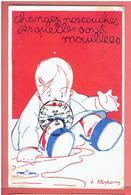 1918 BUREAU D ASSISTANCE A L ENFANCE CROIX ROUGE AMERICAINE DESSIN STEPHANY CARTE DE PROPAGANDE GUERRE 1914 1918 WWI - Santé
