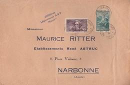 N° 382+ 417 SUR LETTRE MONTPELLIER 14/339 POUR NARBONNE    -                               Tda001 - Lettres & Documents