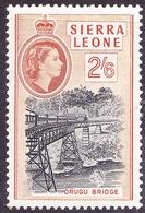 SIERRA LEONE 1956 5/- Black & Chestnut SG219 MH - Sierra Leone (...-1960)