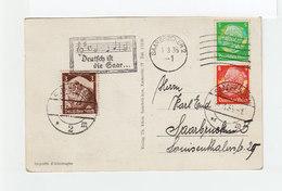 Sur CPA CAD Saarbrücken 1935 Et Deux Grands C. Saarbrüken Sur 3 T. Deutsches Reich. Flamme Deutsch Ist Die Saar. (2126x) - Saar