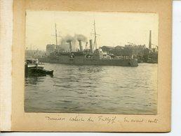 1088. SEINE-MARITIME 76 ROUEN MILLENAIRE NORMAND 1911. LOT 4 PHOTOS SUR CARTON FORT NAVIRES FRITHJOF ET HEJMDAL - Boats