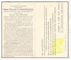 DP Maria Th. Vandermeersch / Depuydt ° Kemmel Heuvelland 1853 † 1943 X Jules Mallisse Malisse / Baudewijn Naelde - Devotion Images