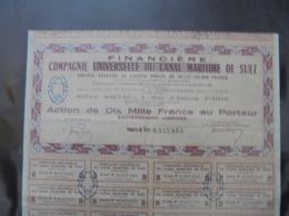 CANAL DE SUEZ - COMPAGNIE FINANCIERE DE SUEZ - ACTION  DE 10 000 FRS - PARIS ( PEU COURANT - Shareholdings