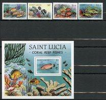 Sainte-Lucie, Yvert 594/597+BF36, Scott 612/615+616, MNH - St.Lucia (1979-...)