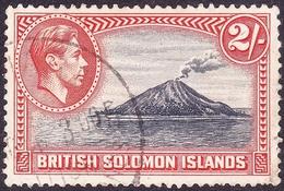 BRITISH SOLOMON ISLANDS 1939 KGVI 2/- Black & Carmine SG69 FU - British Solomon Islands (...-1978)