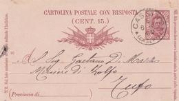 Cassino. 1891. Annullo Grande Cerchio CASSINO (CASERTA), Su Cartolina Postale Con Testo - 1878-00 Umberto I