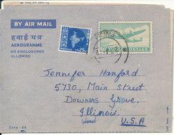 India Aerogramme Uprated And Sent To USA 27-4-1962 - Aerograms