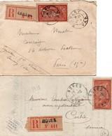 Merson 40 Cts - 2 Lettres Recommandées Avec étiquettes Boves Somme 1919 & Sanary Var 1918 - 1877-1920: Période Semi Moderne