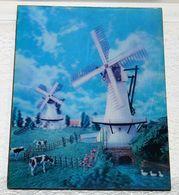 VINTAGE  ANNEE 1970 ANCIEN CADRE 3D MOULINS VACHES   34 X 26.5 CM Environ - Non Classés