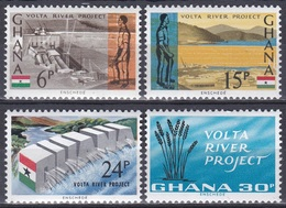 Ghana 1966 Energie Energy Elektrizität Electricity Staudamm Staudämme Dams Fluss Flüsse Rivers Volta, Mi. 253-6 ** - Ghana (1957-...)
