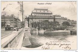 POZDRAV  Z  PRAHYL:  NOVY  MOST  EIS  FRANTISKA  A  NARODNI  DIVADIO  -  KLEINFORMAT - Repubblica Ceca