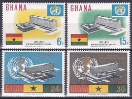 Ghana 1966 Organisationen UNO ONU Weltgesundheitsorganisation WHO Bauwerke Buildings Flaggen Flags, Mi. 257-0 ** - Ghana (1957-...)