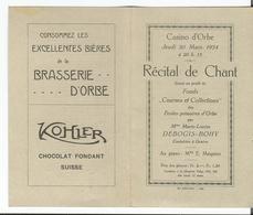 Suisse, Orbe VD, Récital De Chant Au Casino, Programme Et Publicités Bières D'Orbe Et Chocolat Kohler, Format 14.5x17.5 - Programmes