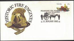 AP67  Australia FDC 1983 Historic Fire Engines - Special Postcard Melbourne - Pompieri