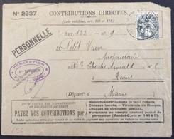 V56 Blanc 1c 107 Contributions Directes N°2337 Recette Principale Marne 22/6/1927 - Storia Postale