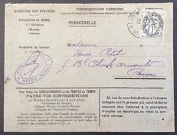 V57 Blanc 1c 107 Ministère Des Finances Contributions Directes Perception Reims 12/7/1927 - Storia Postale