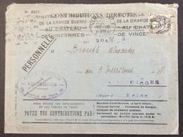 V58 Blanc 1c Contributions Directes Recette Perception Vincennes «Visitez Musée Grande Guerre Au Château...» 22/8/1929 - Storia Postale