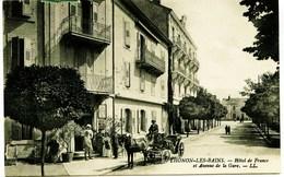 3289  - Haute Savoie  -  THONON  :  HOTEL DE FRANCE ET AVENUE DE LA GARE  - ATTELAGE  Circulée En 1914 - Thonon-les-Bains