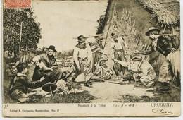 3282  - Uruguay  -  MONTEVIDEO :   JUGANDO  A  LA  TABA   -- Circulée En 1908 - Uruguay