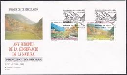 Andorra Spanisch Spain 1995 Europäisches Naturschutzjahr Naturschutz Conservation Landschaften Landscapes, Mi. 241-2 FDC - Spanisch Andorra