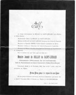 Faire-part De Décès De Messire Joseph De Belloy De Saint-Liénard -14 Novembre 1932 Chapelain D'honneur De La Cathédrale - Overlijden