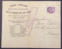 V59 Blanc 10c Préoblitéré 43 Banque Populaire Région Est Paris - 1893-1947