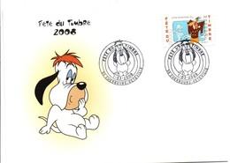 Fête Du Timbre 2008 Journée Du Timbre - Cherbourg 50 Enveloppe - Chien Droopy Dog Hund - Marcophilie (Lettres)