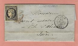 Lettre De PARIS Avec N°3 16 NOVEMBRE 1849 - Poststempel (Briefe)