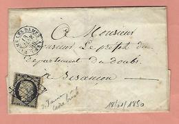 Lettre De BAUME LES DAMES DOUBS Avec N°3 18 JANVIER 1850 - Poststempel (Briefe)