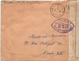 Censure XF 528 - Poste Aux Armées 01.02.1940 - Au Verso Bande Contrôle Postal Militaire - Marcophilie (Lettres)