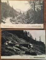 2 CPA, Publicitaires,Chocolat Klaus, Suisse, Sur L'Alpe Et Champex - Publicité