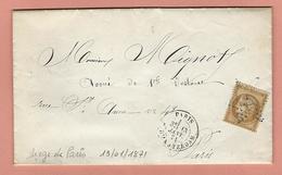 Lettre SIÈGE DE PARIS 13 Janvier 1871 PARIS POUR PARIS - Poststempel (Briefe)