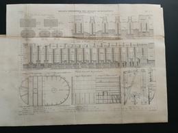 ANNALES PONTS Et CHAUSSEES Plan D'ensemble Des Massifs De Fondations Graveur E.Pérot 1883 (CLB06) - Public Works