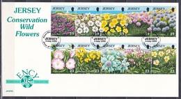 Jersey 1995 Europäisches Naturschutzjahr Naturschutz Conservation Blumen Flora Flowers Wildblumen, Mi. 702-1 FDC - Jersey