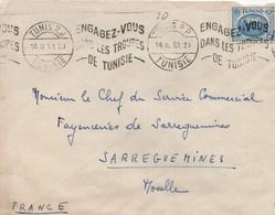 Engagez-vous Dans Les Troupes De Tunisie - Tunis 1953 - Flamme De Propagande Pour Recrutement - Postmark Collection (Covers)