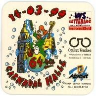 Belgium. 64ste Carnaval Halle. 14-03-99. WS Lettering, Optilux Vencken, Abibat, Waterlomat, Expert In Biervilten. - Sous-bocks