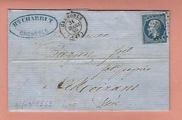 Lettre De GRENOBLE Avec N° 14 Variété POSTFS - Poststempel (Briefe)
