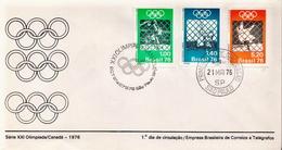 Brazil Set On FDC - Summer 1976: Montreal