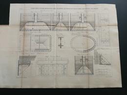 ANNALES PONTS Et CHAUSSEES (Dep76) Plan D'un Viaduc En Rive Gauche Avec Chambres De Travail Graveur E.Pérot 1883 (CLB09) - Travaux Publics