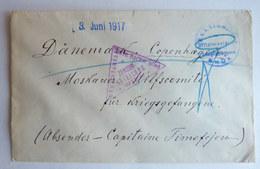 LETTRE DE PRISONNIER DE GUERRE AVEC CACHET DE CENSURE OFFIZIER WIEN A DESTINATION DE COPENHAGUE - Guerre Mondiale (Première)