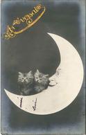 1 CPA 1928 Lune Yeux Homme Chats Sur La Lune Landor A.704 - Birthday