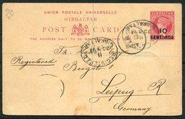 1894 Gibraltar Registered  10c Provisional Stationery Postcard (missing Additional Stamp) - Leipzig Germany - Gibraltar