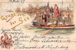 HERRINGSDORF GERMANY 1897 POSTMARK~ARTIST DRAWN~GRUSS Von Der SEE POSTCARD 40189 - Deutschland