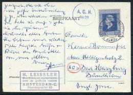1947 Netherlands Amsterdam Central Station, Leissler Vakken Postcard Censor - Bad Harzburg, Germany - Period 1891-1948 (Wilhelmina)