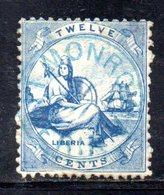 APR255 - LIBERIA 1860 , Yvert N. 2 Usato : Difettoso Per Trasparenza  (2380A) . - Liberia